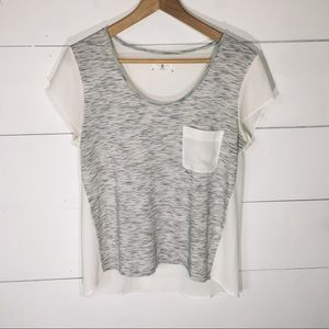 LOU & GREY High Low Sheer Back SS Top SMALL EUC